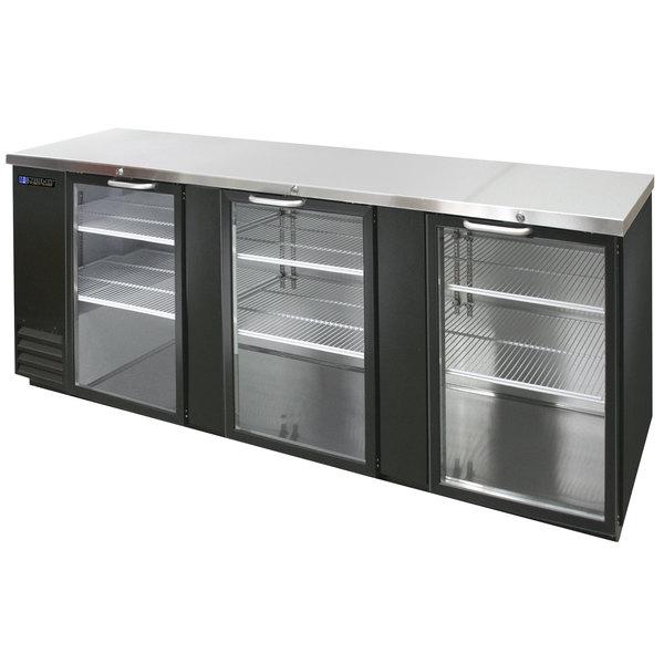"Master-Bilt MBBB95G Fusion 95"" Black Glass Door Back Bar Refrigerator with LED Lighting Main Image 1"