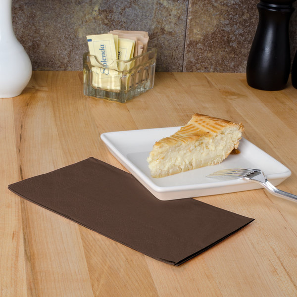 """Hoffmaster 180554 Chocolate Brown 15"""" x 17"""" 2-Ply Paper Dinner Napkin - 125/Pack Main Image 4"""