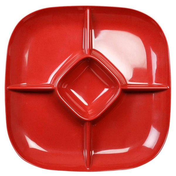 Thunder Group PS1515RD Passion Red Chip and Dip Platter - 6/Pack Main Image 1