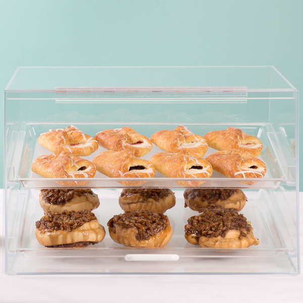 """Cal-Mil 255-S Classic Two Tier Acrylic Display Case with Front and Rear Doors - 19"""" x 15"""" x 11"""""""