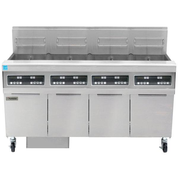 Frymaster FPPH455 Liquid Propane 200 lb. 4 Unit High-Efficiency Gas Floor Fryer System with Digital Controls - 320,000 BTU Main Image 1