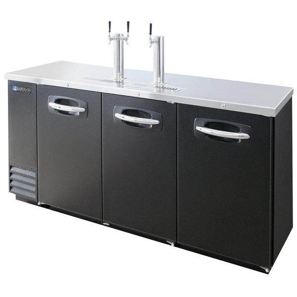 Master-Bilt MBDD79 Fusion 1 Single and 1 Double Tap Kegerator Beer Dispenser - Black, (4) 1/2 Keg Capacity Main Image 1
