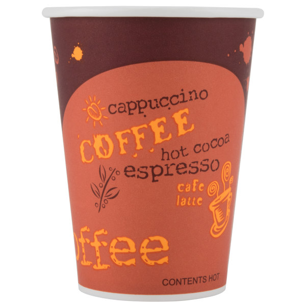 Choice 12 oz. Poly Paper Hot Cup with Coffee Design - 50/Pack
