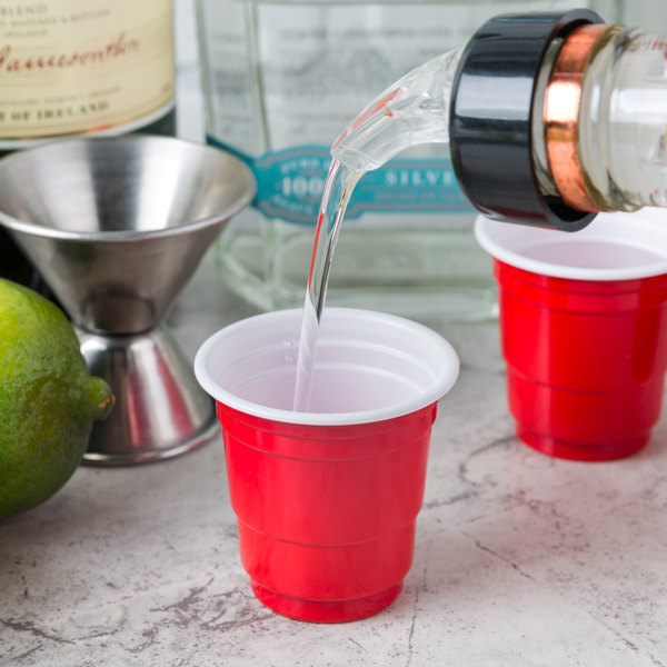 Choice 2 oz. Red Plastic Shot Cup - 1000/Case Main Image 2