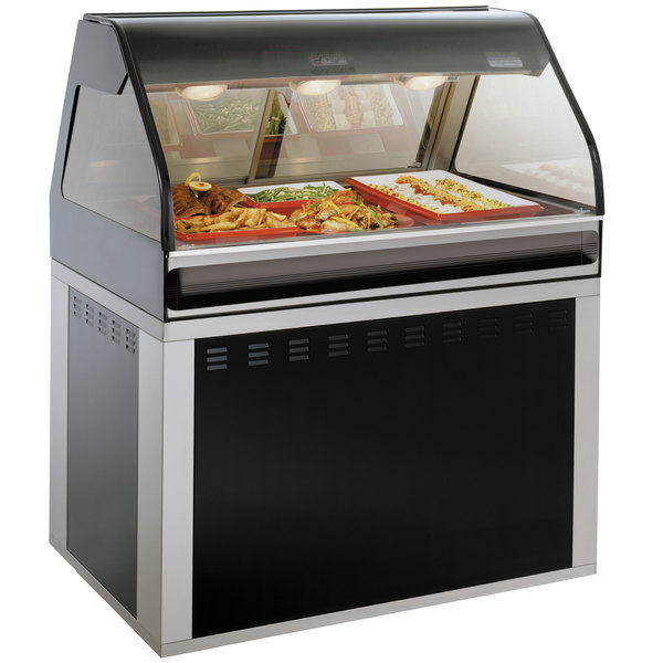 "Alto-Shaam EU2SYS-48/P BK Black Cook / Hold / Display Case with Curved Glass and Base - Self Service, 48"" Main Image 1"