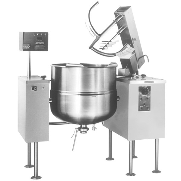 Cleveland MKDL-100-T 100 Gallon Tilting 2/3 Steam Jacketed Direct Steam Mixer Kettle Main Image 1