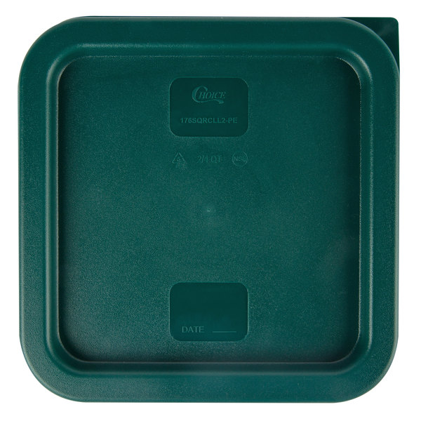 Choice 2 and 4 Qt  Green Square Polyethylene Food Storage Container Lid