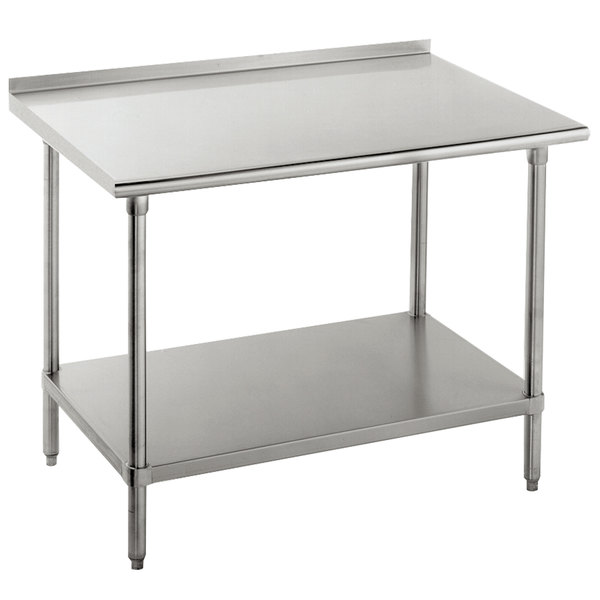 "16 Gauge Advance Tabco FAG-244 24"" x 48"" Stainless Steel Work Table with 1 1/2"" Backsplash and Galvanized Undershelf"