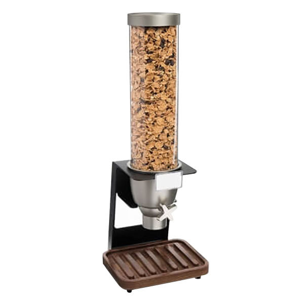 """Rosseto EZ518 EZ-SERV 4.9 Liter Single Canister Tabletop Snack / Cereal Dispenser with Black Matte Steel Stand and Walnut Catch Tray - 9"""" x 9 1/4"""" x 26"""""""