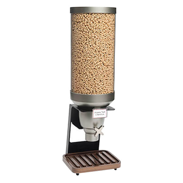 """Rosseto EZ530 EZ-SERV 13.3 Liter Single Canister Tabletop Snack / Cereal Dispenser with Black Matte Steel Stand and Catch Tray - 9 1/4"""" x 9 1/4"""" x 28 5/16"""""""