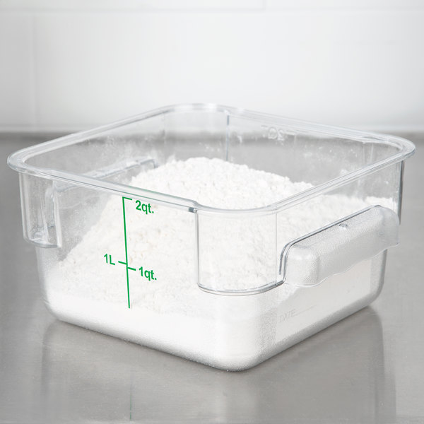 Choice 2 Qt. Clear Square Polycarbonate Food Storage Container with Green Gradations