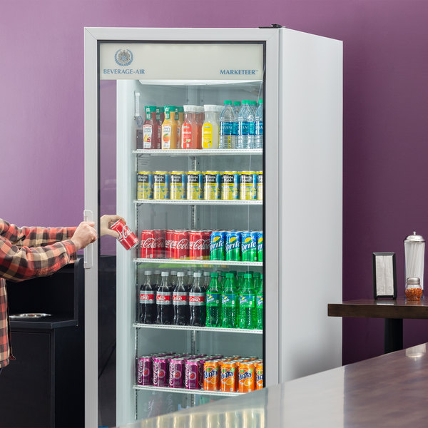"Beverage-Air LV27HC-1-W LumaVue 30"" White Refrigerated Glass Door Merchandiser with LED Lighting"