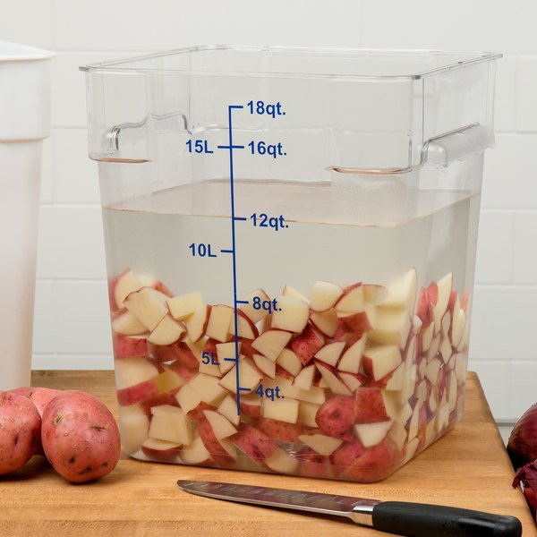 Choice 18 Qt. Clear Square Polycarbonate Food Storage Container with Blue Gradations Main Image 3