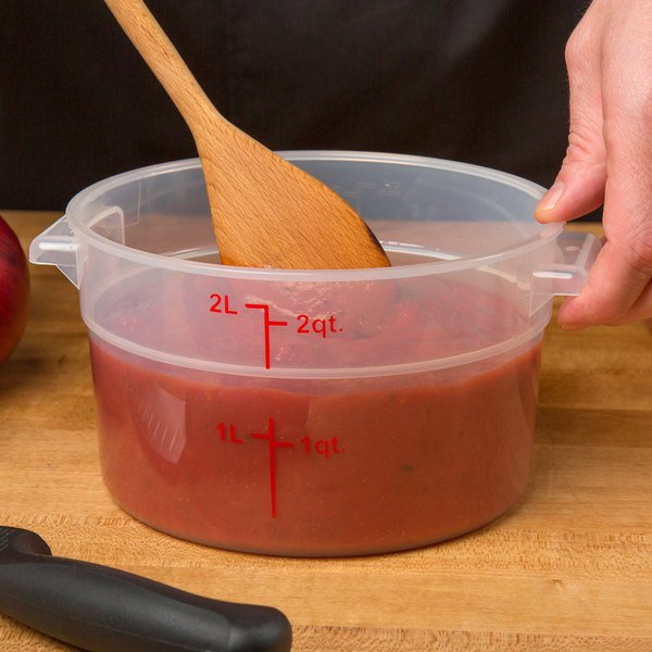 Choice 2 Qt. Translucent Round Polypropylene Food Storage Container with Red Gradations Main Image 2