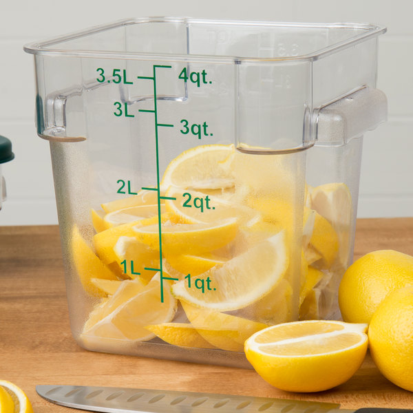 Choice 4 Qt. Clear Square Polycarbonate Food Storage Container with Green Gradations