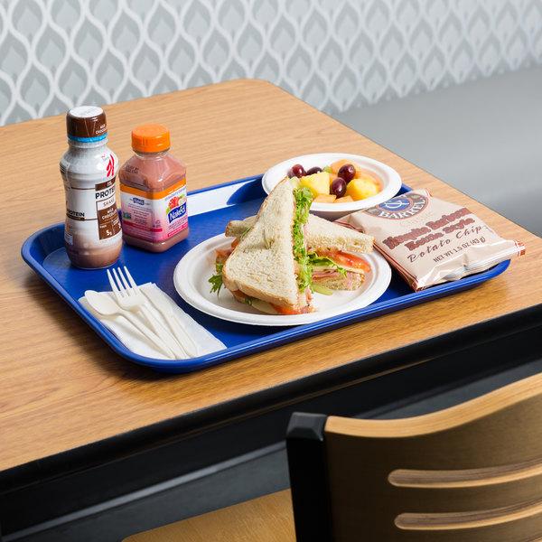 "Choice 14"" x 18"" Blue Plastic Fast Food Tray"