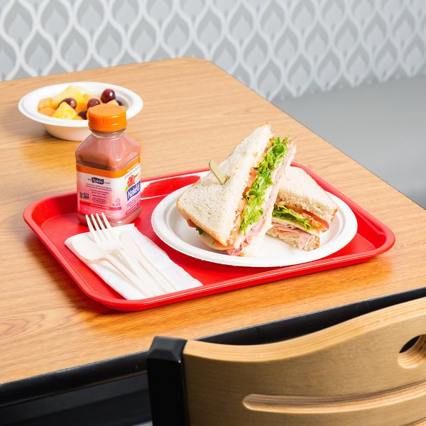 """Choice 10"""" x 14"""" Red Plastic Fast Food Tray - 12/Pack"""