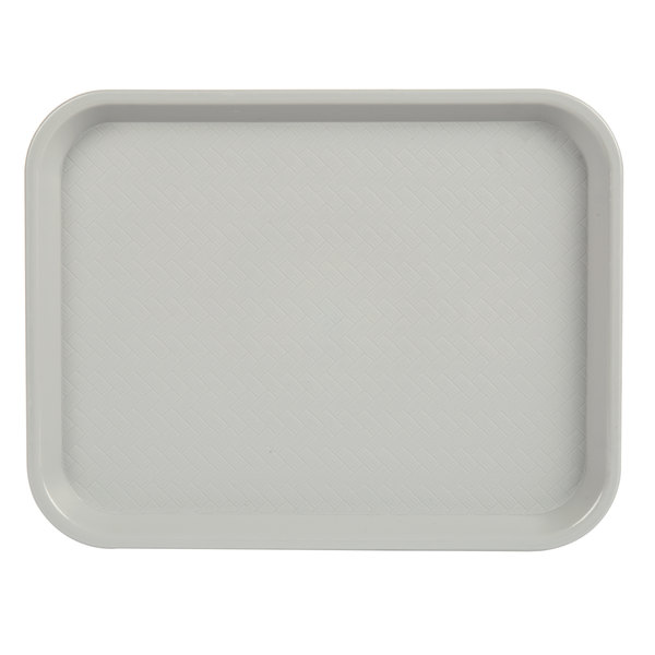 """Choice 10"""" x 14"""" Gray Plastic Fast Food Tray - 12/Pack"""