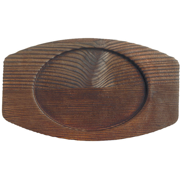 """World Tableware CIS-27TR 7 1/4"""" x 4 3/8"""" Cedar Plank Wood Underliner with Natural Wood-Grain Finish - 12/Case Main Image 1"""