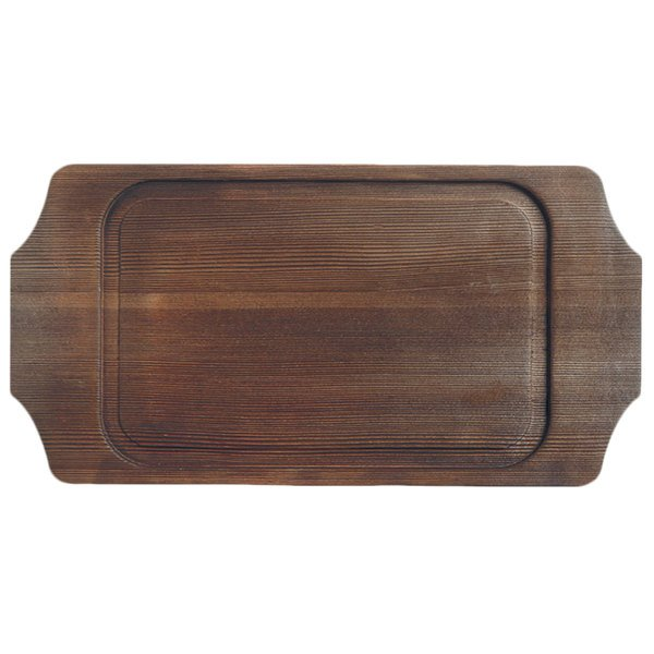"""World Tableware CIS-19TR 14 1/8"""" x 7 1/4"""" Cedar Plank Wood Underliner with Natural Wood-Grain Finish - 6/Case Main Image 1"""