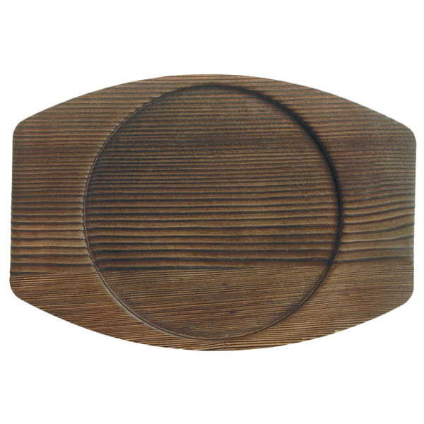 "World Tableware CIS-15TR 7 7/8"" x 7"" Cedar Plank Wood Underliner with Natural Wood-Grain Finish - 12/Case Main Image 1"