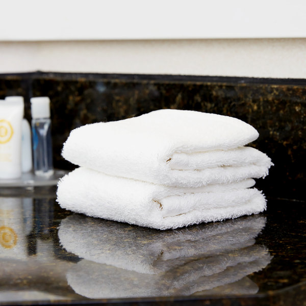 """Lavex Lodging 13"""" x 13"""" 100% Combed Egyptian Cotton Hotel Washcloth 1.5 lb. - 12/Pack"""