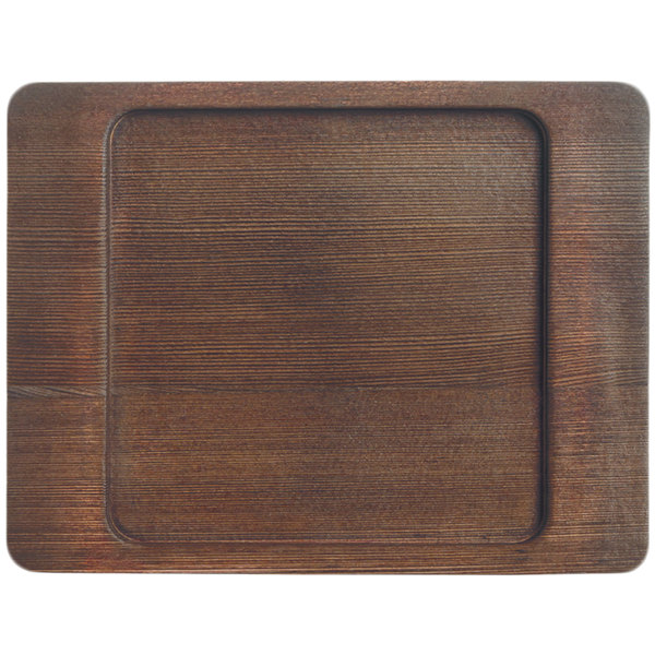 """World Tableware CIS-16TR 7 7/8"""" x 6 1/8"""" Cedar Plank Wood Underliner with Natural Wood-Grain Finish - 12/Case Main Image 1"""