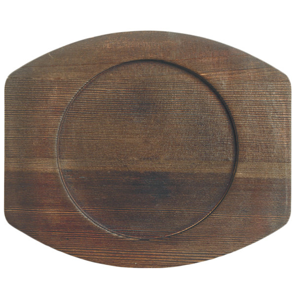 "World Tableware CIS-17TR 8 1/2"" x 7"" Cedar Plank Wood Underliner with Natural Wood-Grain Finish - 6/Case Main Image 1"