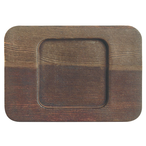 """World Tableware CIS-26TR 5 1/2"""" x 4"""" Cedar Plank Wood Underliner with Natural Wood-Grain Finish - 12/Case Main Image 1"""