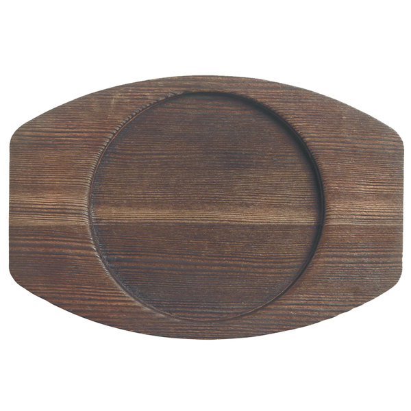 """World Tableware CIS-25TR 6 1/4"""" x 4 3/8"""" Cedar Plank Wood Underliner with Natural Wood-Grain Finish - 12/Case Main Image 1"""