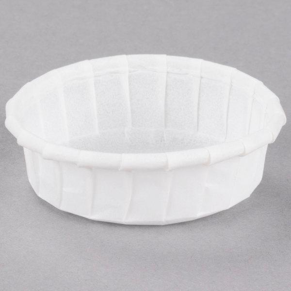 Dart Solo 075S .75 oz. White Squat Paper Souffle / Portion Cup - 5000/Case