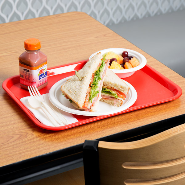 """Choice 12"""" x 16"""" Red Plastic Fast Food Tray - 24/Case"""