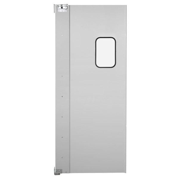 """Regency Single Aluminum Swinging Traffic Door with 9"""" x 14"""" Window - 36"""" x 84"""" Door Opening"""