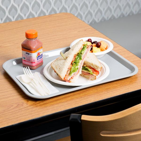 "Choice 12"" x 16"" Gray Plastic Fast Food Tray - 24/Case"