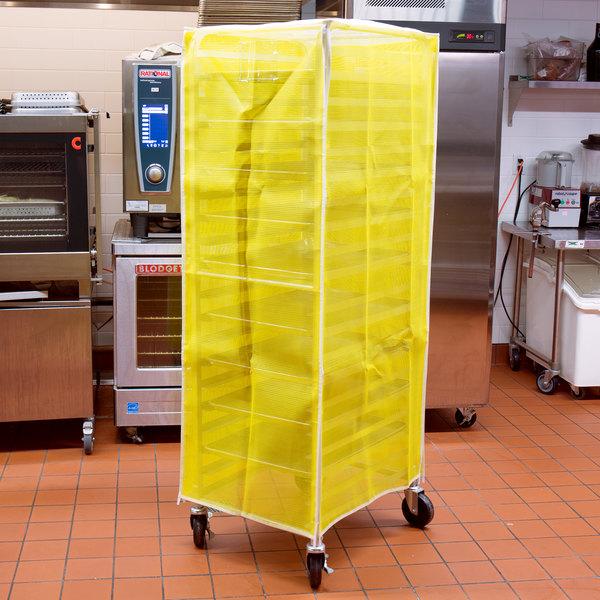 "Curtron SUPRO-BM-Y Yellow Supro Breathable Mesh Bun / Sheet Pan Rack Cover - 23"" x 28"" x 62"""