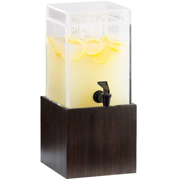 "Cal-Mil 1527-1-96 1.5 Gallon Midnight Bamboo Beverage Dispenser - 9 3/4"" x 8 1/4"" x 17 3/4"" Main Image 1"