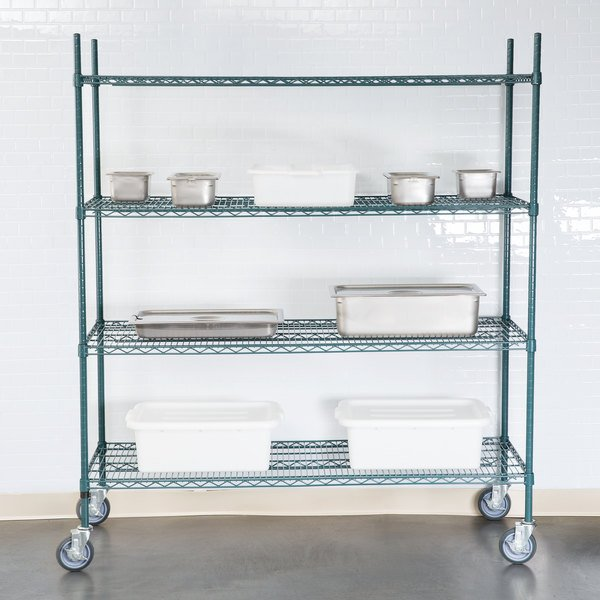 "Regency 24"" x 60"" NSF Green Epoxy 4-Shelf Kit with 64"" Posts and Casters"