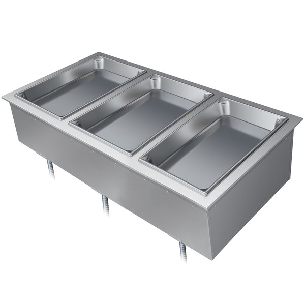 Hatco DHWBI-3 Insulated Three Compartment Modular / Ganged Drop In Hot Food Well with Drain - 120V Main Image 1