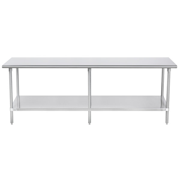 """Advance Tabco SAG-308 30"""" x 96"""" 16 Gauge Stainless Steel Commercial Work Table with Undershelf"""