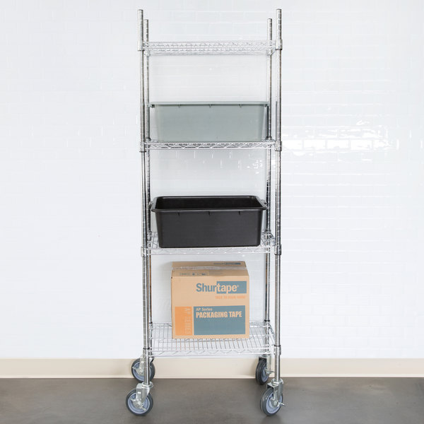 """Regency 14"""" x 24"""" NSF Chrome 4-Shelf Kit with 64"""" Posts and Casters Main Image 3"""