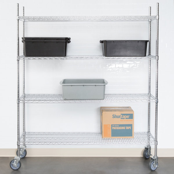 """Regency 14"""" x 60"""" NSF Chrome 4-Shelf Kit with 64"""" Posts and Casters Main Image 3"""