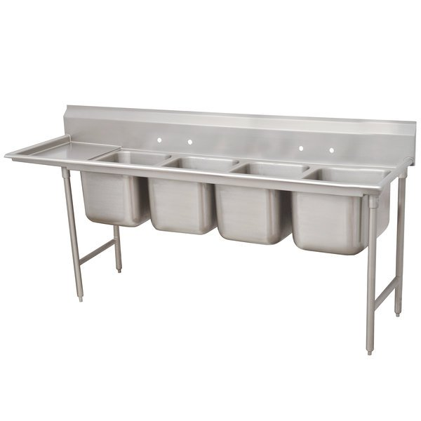"""Left Drainboard Advance Tabco 93-84-80-36 Regaline Four Compartment Stainless Steel Sink with One Drainboard - 129"""""""