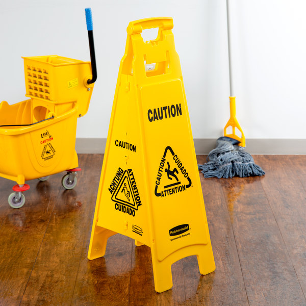 "Rubbermaid FG611400YEL 37"" Yellow 4-Sided Multi-Lingual Wet Floor Sign - ""Caution"""