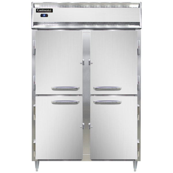 "Continental DL2RS-HD 52"" Shallow Depth Solid Half Door Reach-In Refrigerator Main Image 1"