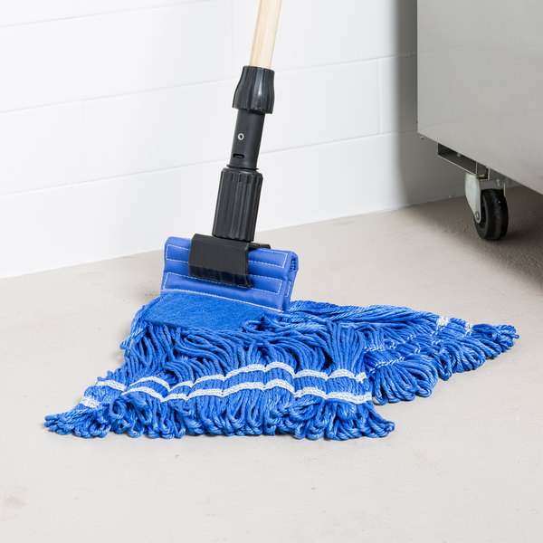"""Knuckle Buster MFSTM18BL 18 oz. Medium Knuckle Buster Microfiber String Mop Head with Blue Scrubber and 5"""" Band Main Image 8"""