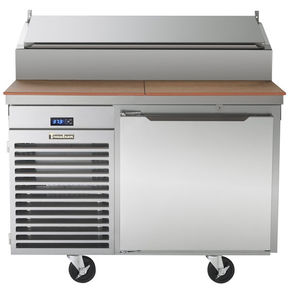 """Traulsen TB046SL2S 46"""" 1 Door Refrigerated Pizza Prep Table with 2 Pan Rails Main Image 1"""