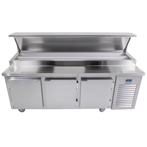 """Traulsen TB091SL2S 91"""" 3 Door Refrigerated Pizza Prep Table with 2 Pan Rails"""