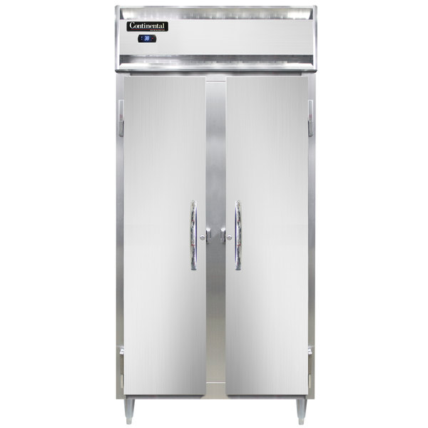 "Continental DL2RSES 36"" Narrow Shallow Depth Solid Door Reach-In Refrigerator Main Image 1"