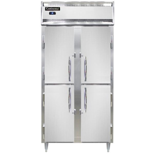 """Continental D2RSENSAHD 36"""" Narrow Solid Half Door Reach-In Refrigerator Main Image 1"""