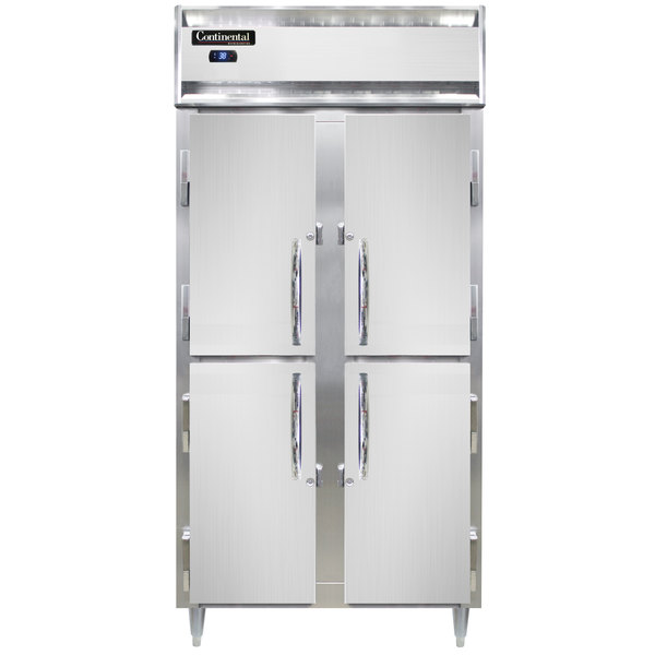 "Continental DL2RSES-SS-HD 36"" Narrow Shallow Depth Solid Half Door Reach-In Refrigerator Main Image 1"